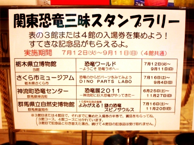 関東恐竜三昧スタンプラリー開催館一覧
